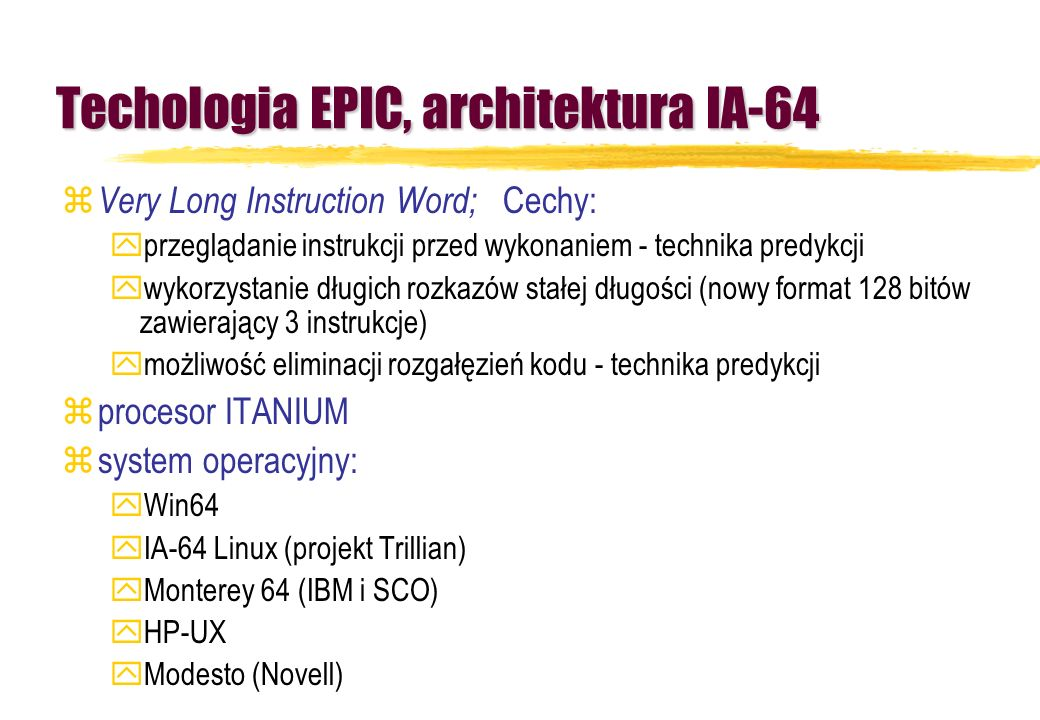 Techologia EPIC, architektura IA-64