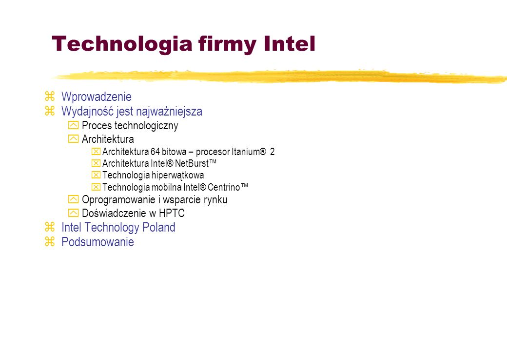 Technologia firmy Intel