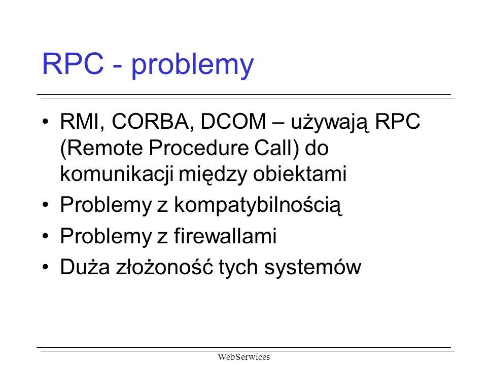 RPC - problemy RMI, CORBA, DCOM – używają RPC (Remote Procedure Call) do komunikacji między obiektami.