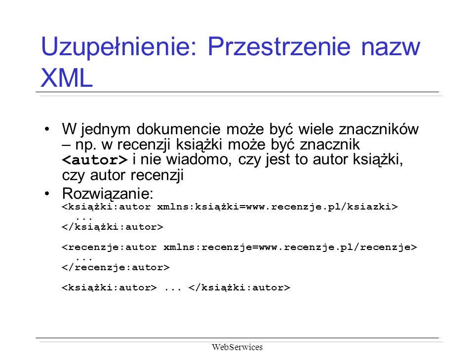 Uzupełnienie: Przestrzenie nazw XML