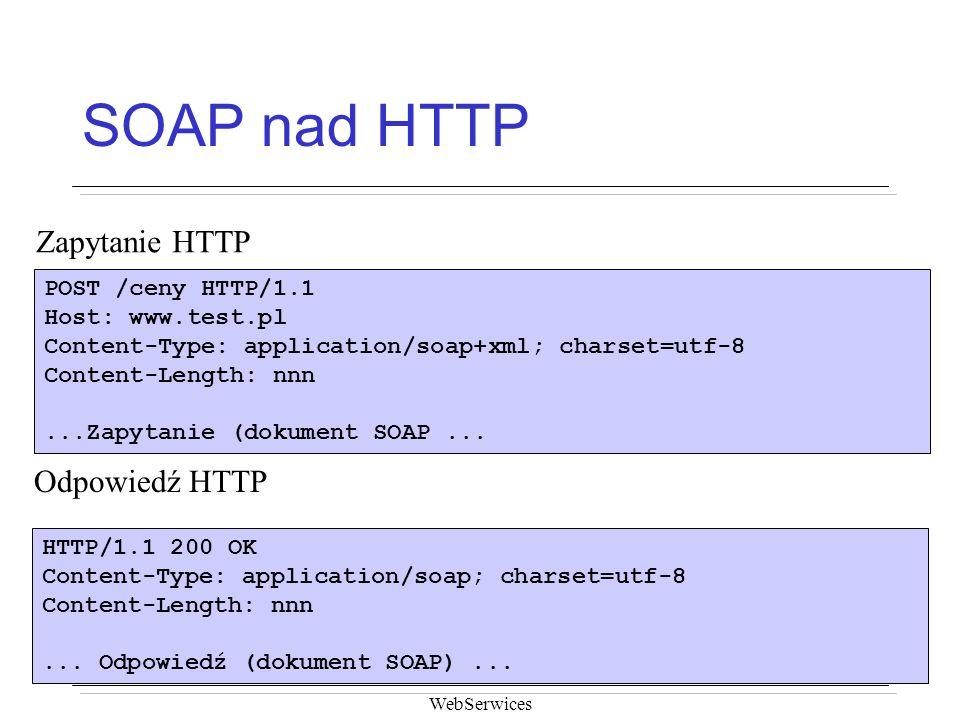 SOAP nad HTTP Zapytanie HTTP Odpowiedź HTTP POST /ceny HTTP/1.1