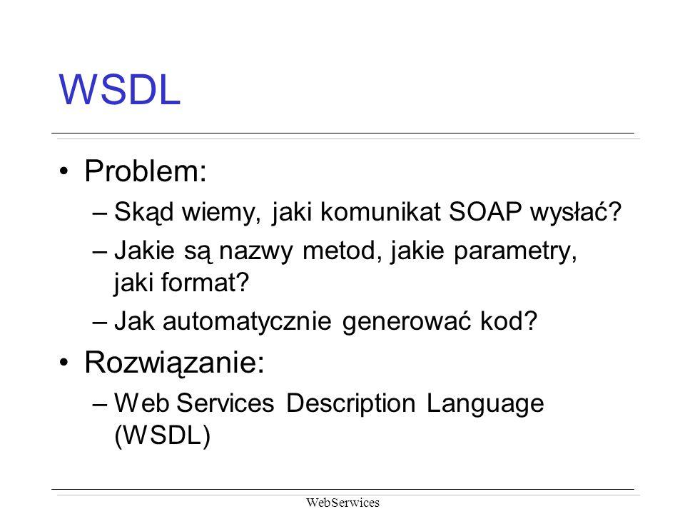 WSDL Problem: Rozwiązanie: Skąd wiemy, jaki komunikat SOAP wysłać