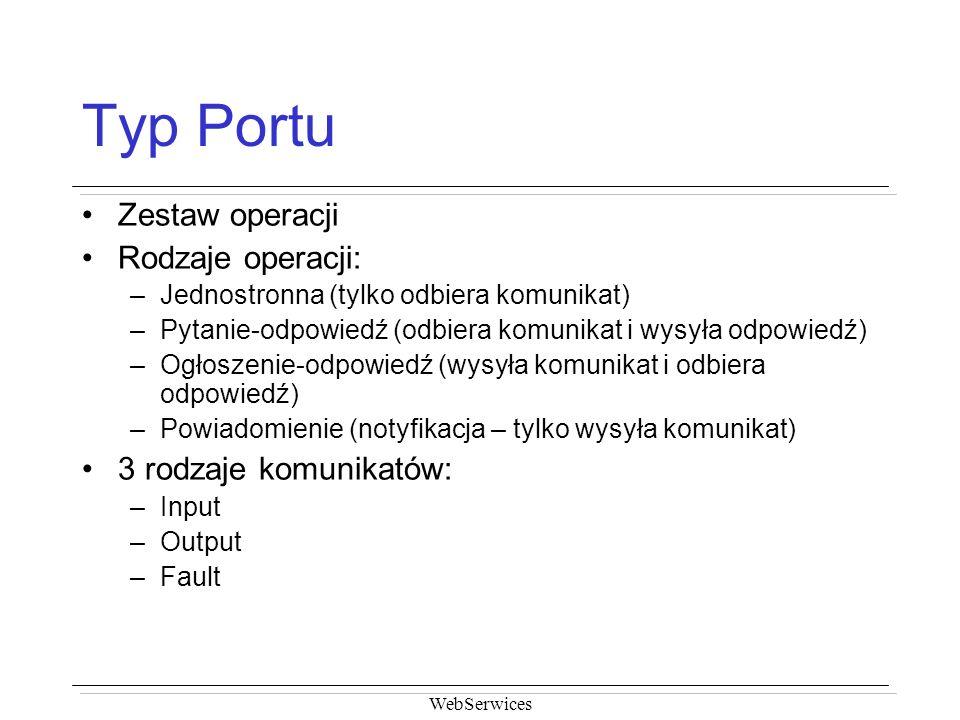 Typ Portu Zestaw operacji Rodzaje operacji: 3 rodzaje komunikatów:
