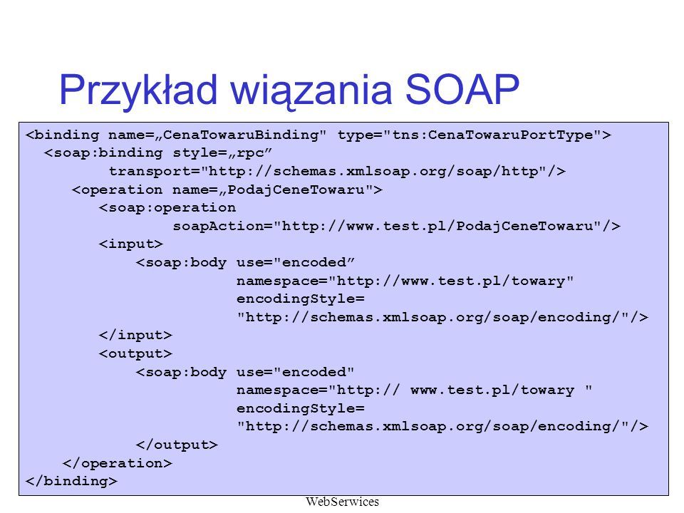Przykład wiązania SOAP