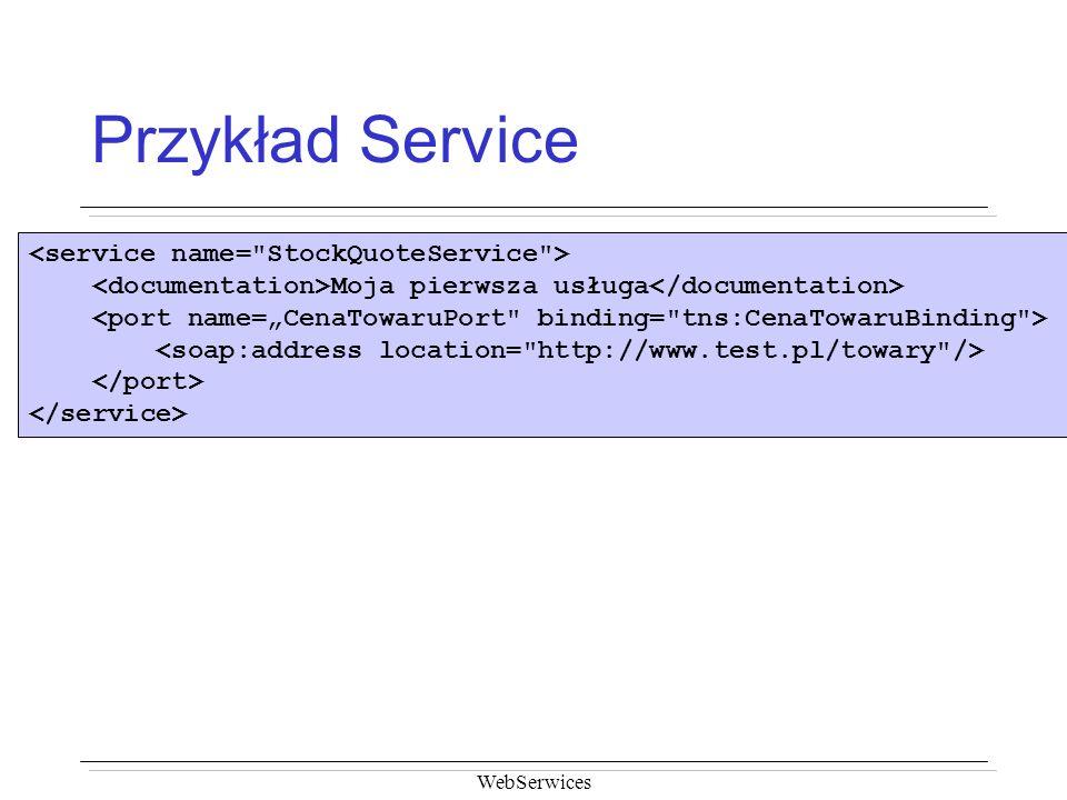 Przykład Service <service name= StockQuoteService >