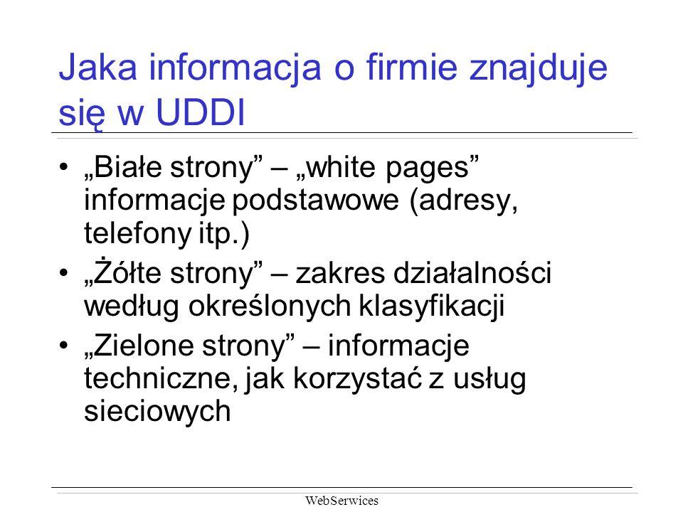 Jaka informacja o firmie znajduje się w UDDI
