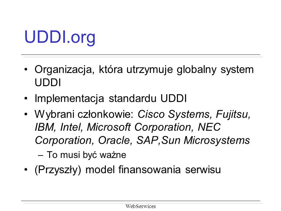 UDDI.org Organizacja, która utrzymuje globalny system UDDI