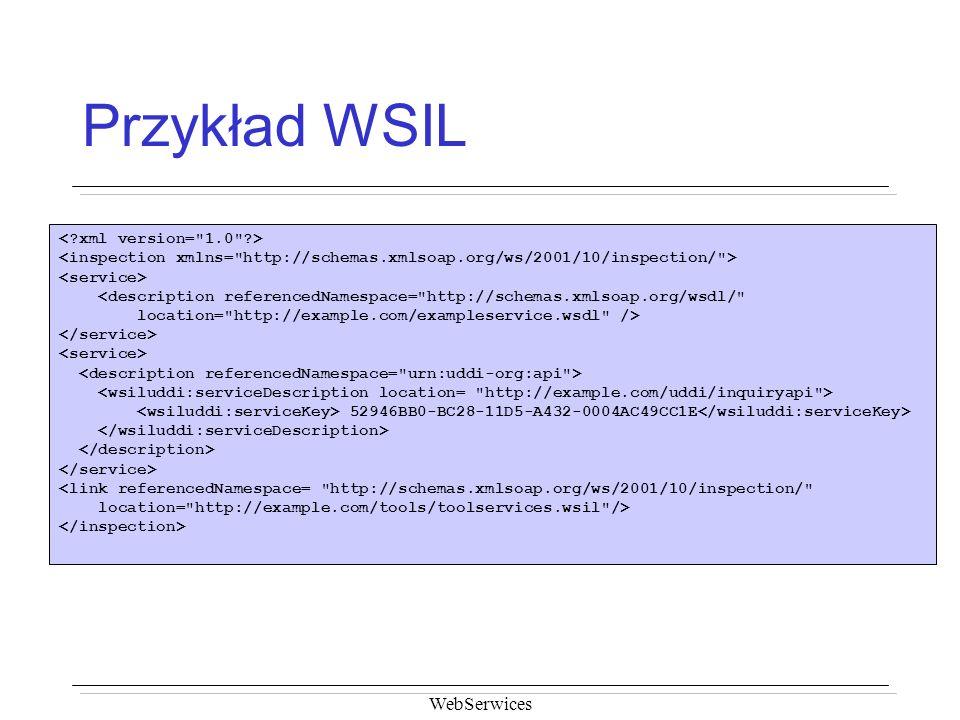 Przykład WSIL WebSerwices < xml version= 1.0 >