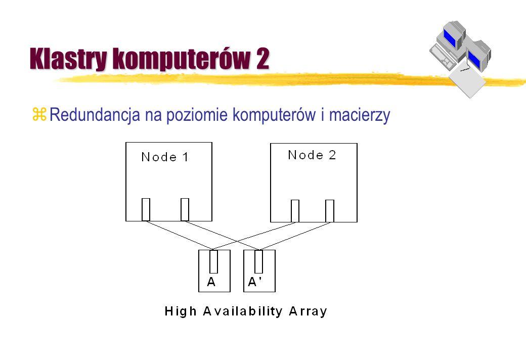 Klastry komputerów 2 Redundancja na poziomie komputerów i macierzy