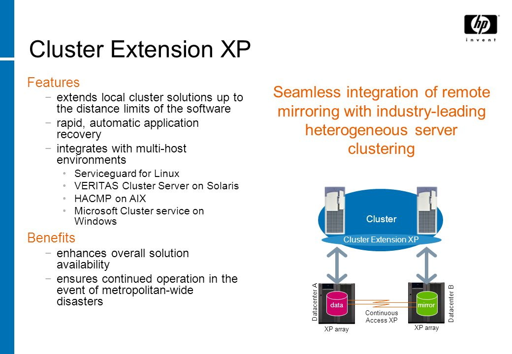 Cluster Extension XP Features. extends local cluster solutions up to the distance limits of the software.