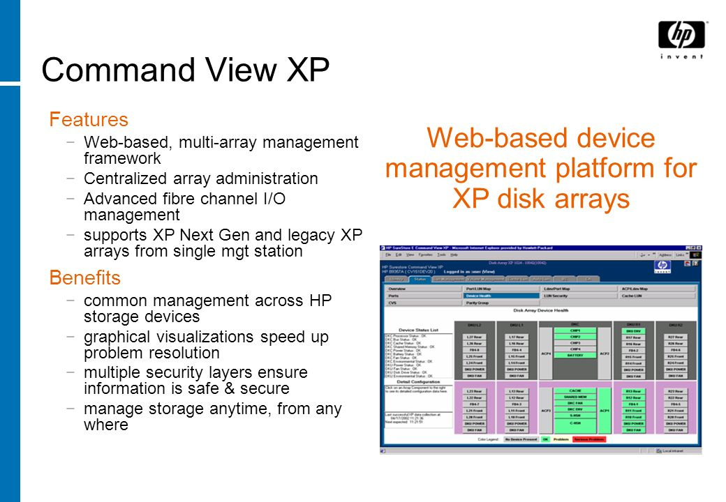 Web-based device management platform for XP disk arrays