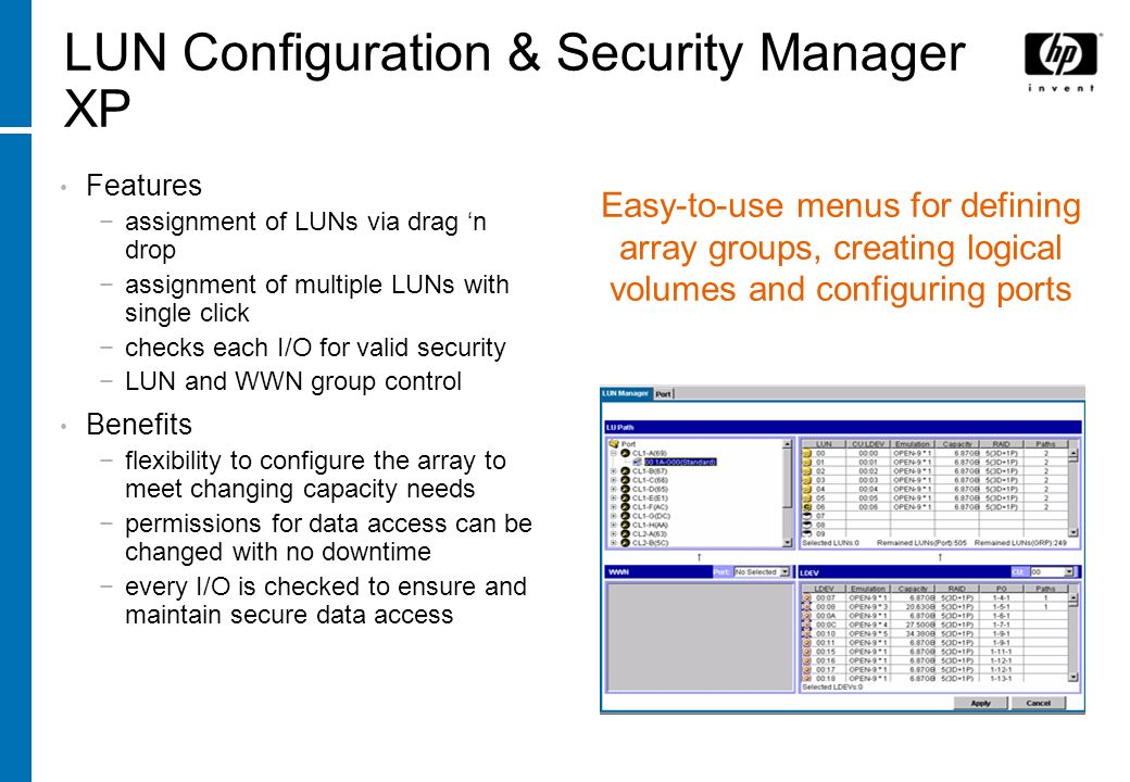 LUN Configuration & Security Manager XP