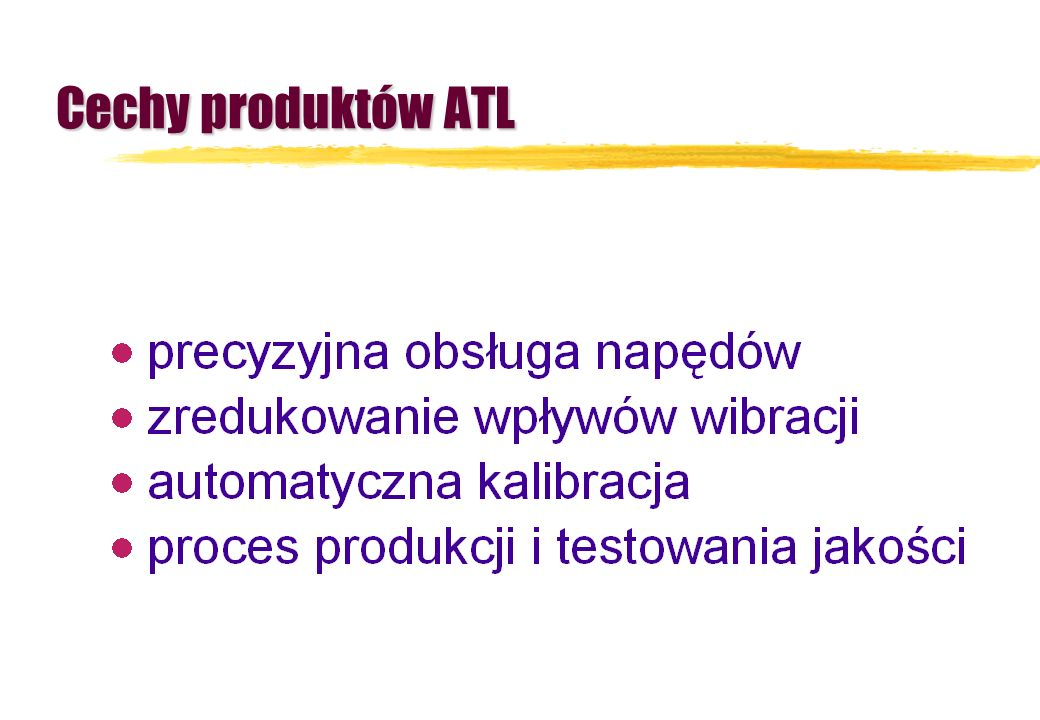 Cechy produktów ATL