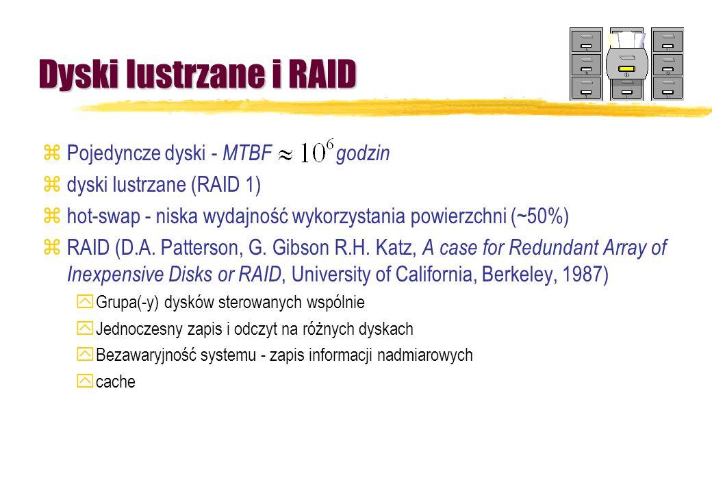 Dyski lustrzane i RAID Pojedyncze dyski - MTBF godzin
