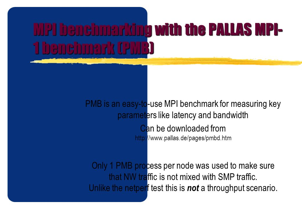MPI benchmarking with the PALLAS MPI-1 benchmark (PMB)