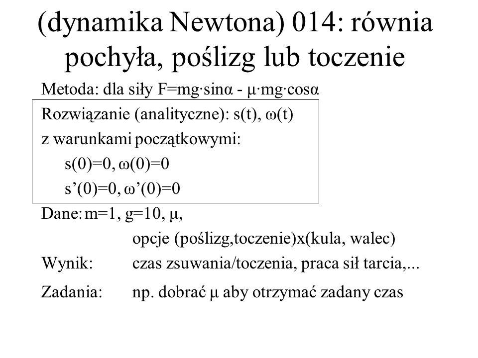 (dynamika Newtona) 014: równia pochyła, poślizg lub toczenie