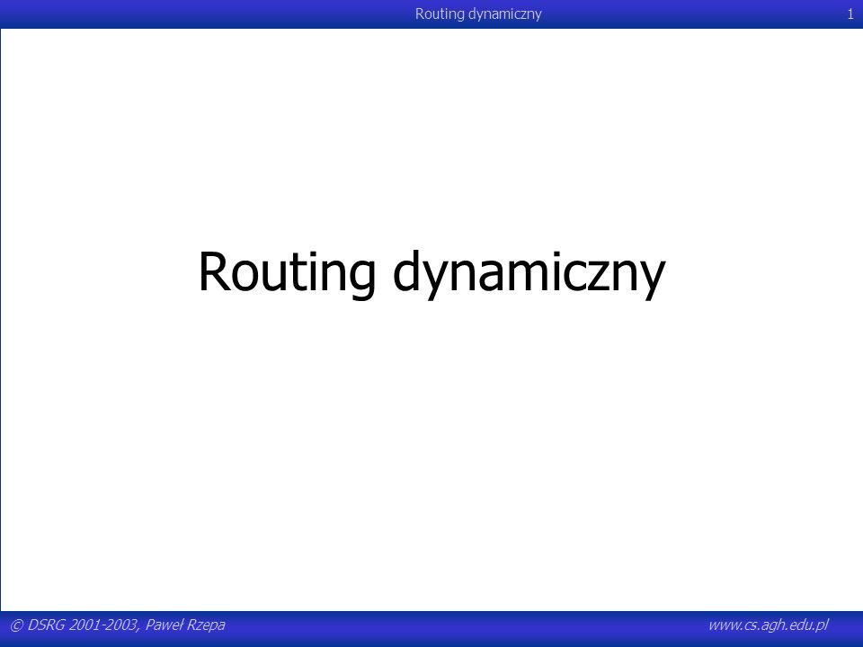 Routing dynamiczny © DSRG 2001-2003, Paweł Rzepa www.cs.agh.edu.pl