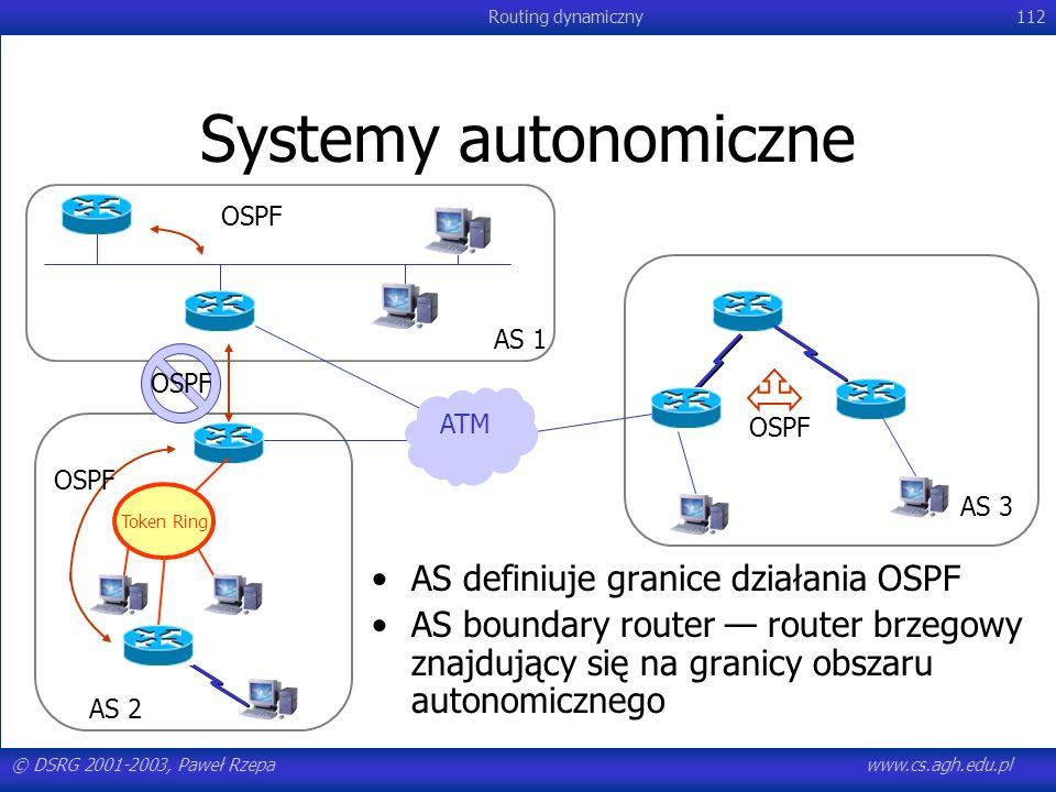 Systemy autonomiczne AS definiuje granice działania OSPF