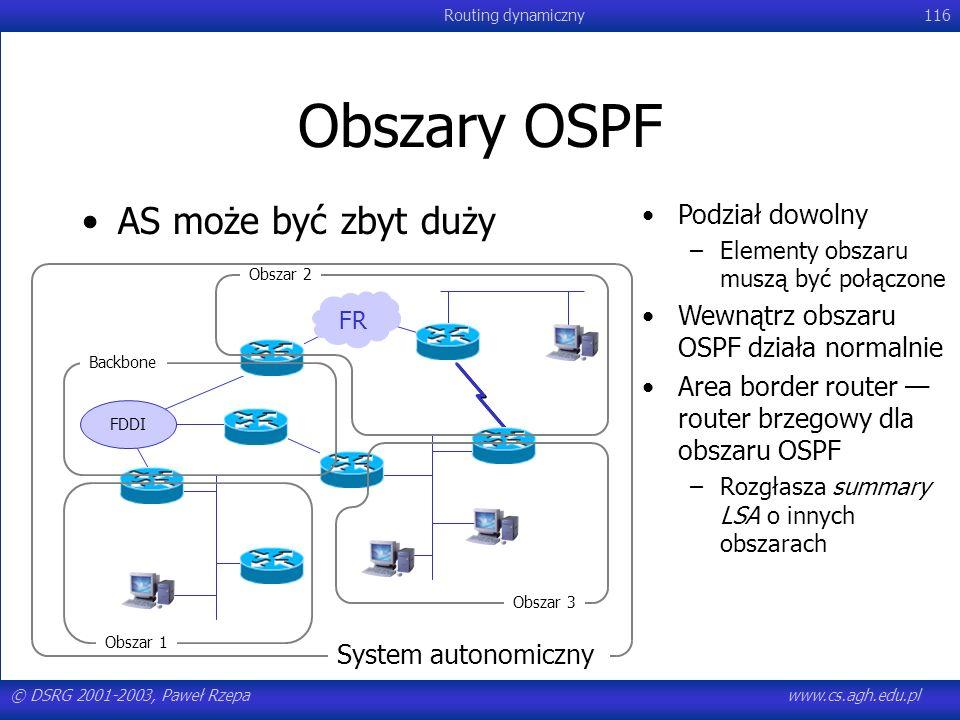 Obszary OSPF AS może być zbyt duży Podział dowolny