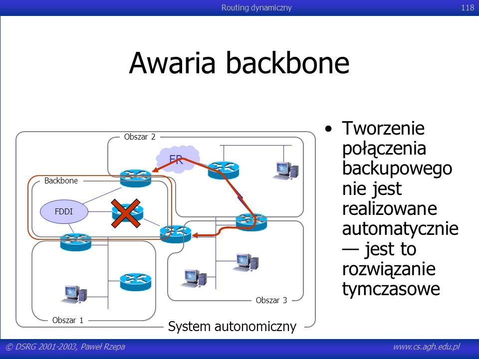 Awaria backbone Tworzenie połączenia backupowego nie jest realizowane automatycznie — jest to rozwiązanie tymczasowe.