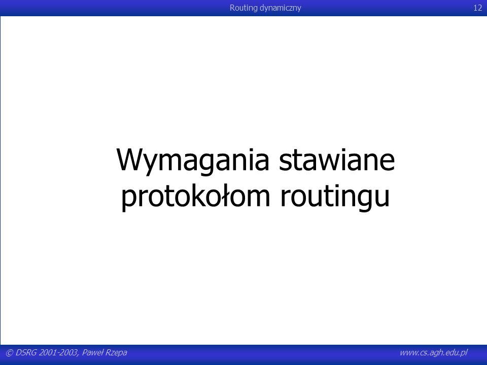 Wymagania stawiane protokołom routingu