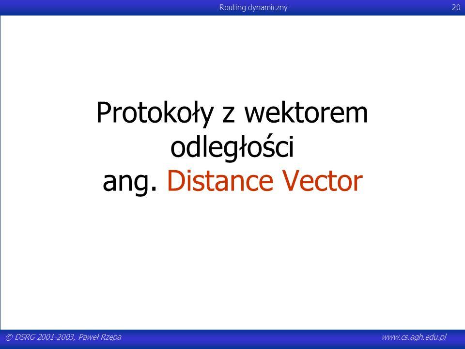 Protokoły z wektorem odległości ang. Distance Vector