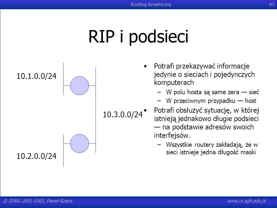 RIP i podsieciPotrafi przekazywać informacje jedynie o sieciach i pojedynczych komputerach. W polu hosta są same zera — sieć.