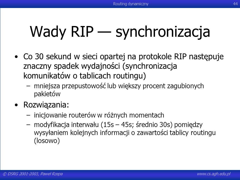 Wady RIP — synchronizacja