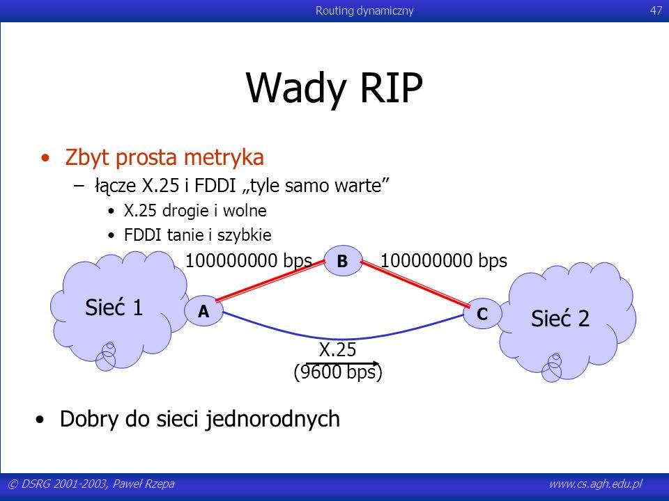 Wady RIP Zbyt prosta metryka Sieć 1 Sieć 2 Dobry do sieci jednorodnych