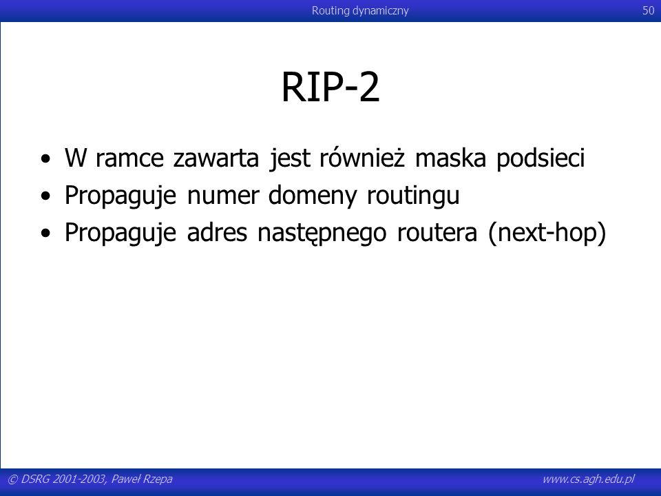 RIP-2 W ramce zawarta jest również maska podsieci