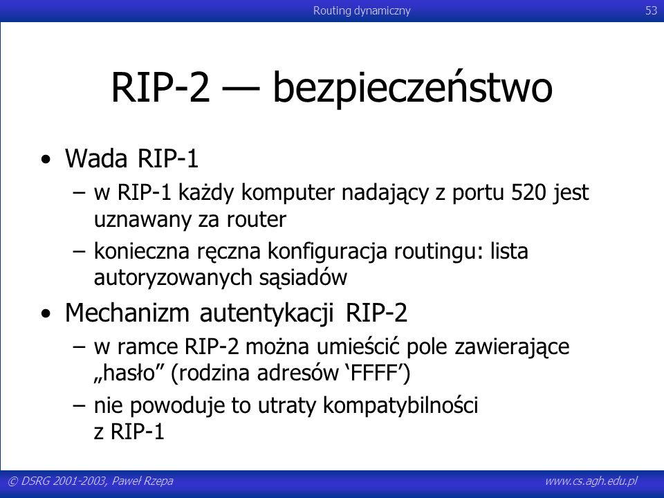RIP-2 — bezpieczeństwo Wada RIP-1 Mechanizm autentykacji RIP-2