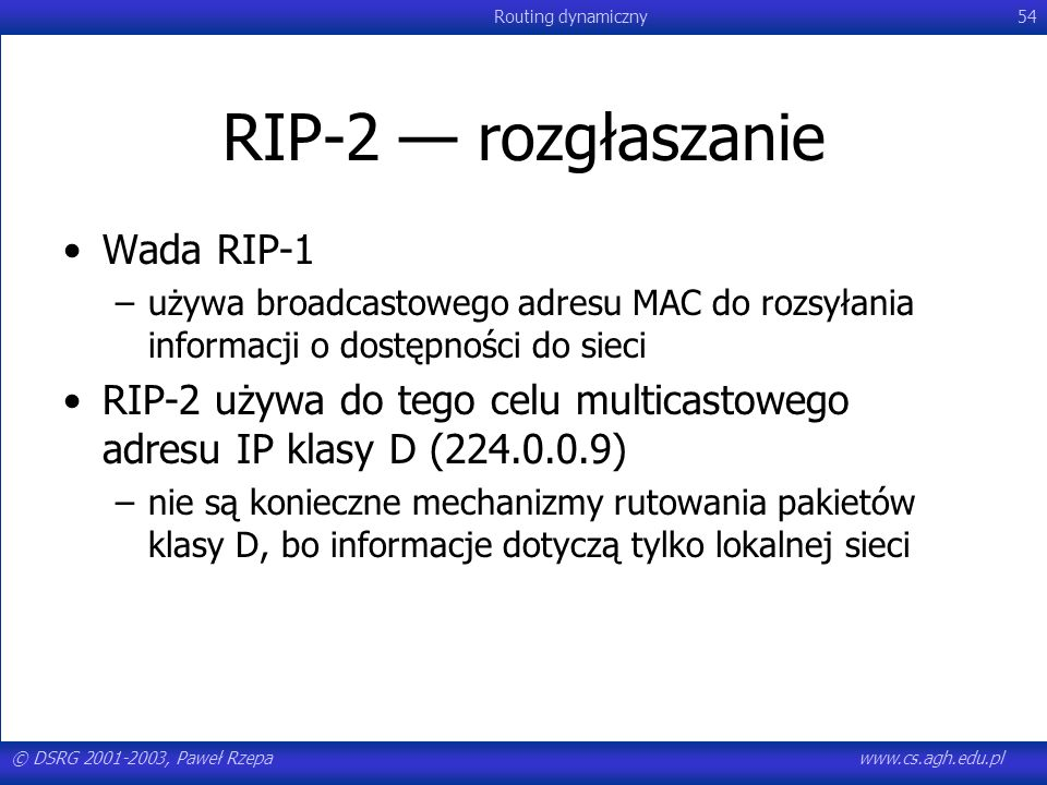 RIP-2 — rozgłaszanie Wada RIP-1