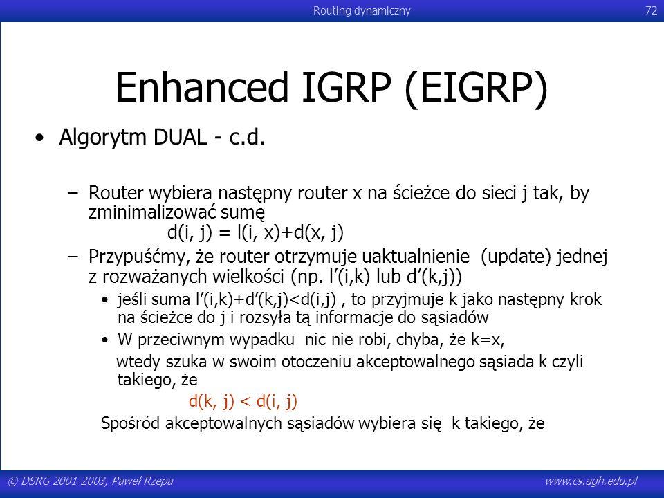 Enhanced IGRP (EIGRP) Algorytm DUAL - c.d.