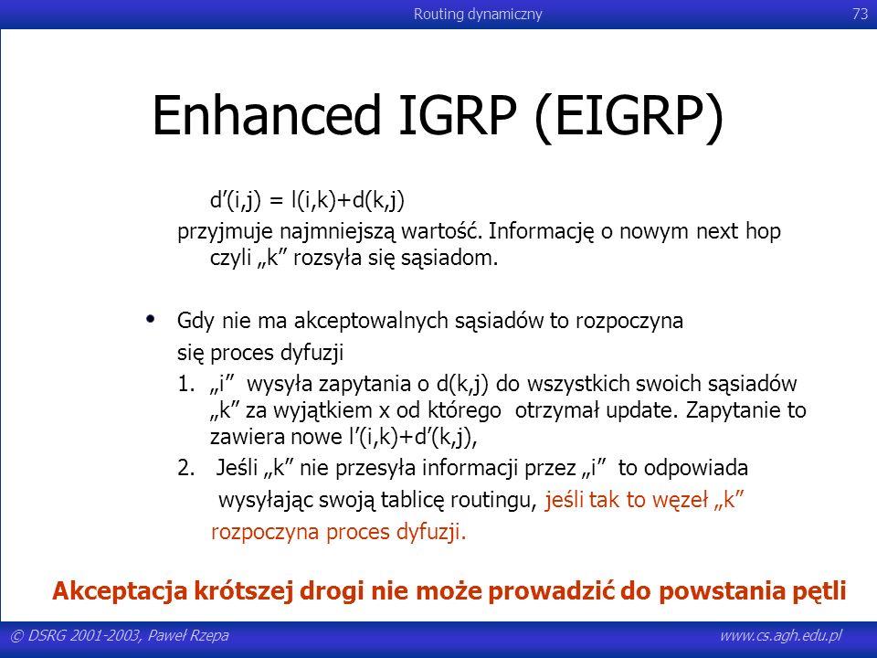 """Enhanced IGRP (EIGRP) d'(i,j) = l(i,k)+d(k,j) przyjmuje najmniejszą wartość. Informację o nowym next hop czyli """"k rozsyła się sąsiadom."""