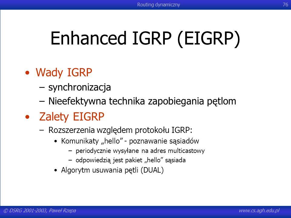 Enhanced IGRP (EIGRP) Wady IGRP Zalety EIGRP synchronizacja