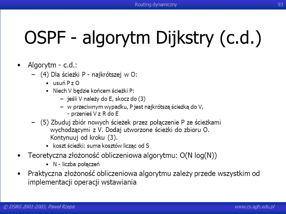 OSPF - algorytm Dijkstry (c.d.)
