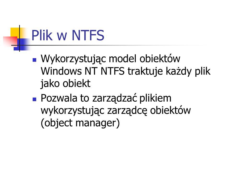 Plik w NTFS Wykorzystując model obiektów Windows NT NTFS traktuje każdy plik jako obiekt.