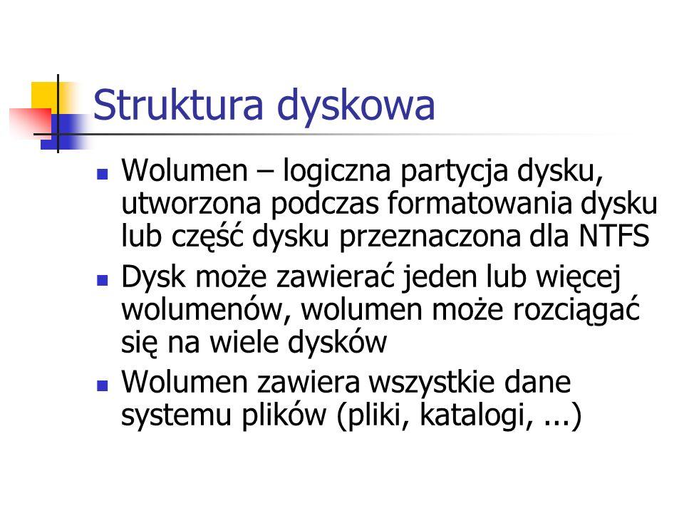 Struktura dyskowa Wolumen – logiczna partycja dysku, utworzona podczas formatowania dysku lub część dysku przeznaczona dla NTFS.