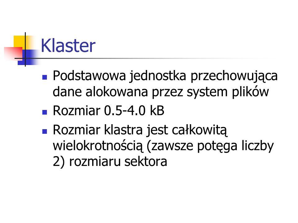 Klaster Podstawowa jednostka przechowująca dane alokowana przez system plików. Rozmiar 0.5-4.0 kB.