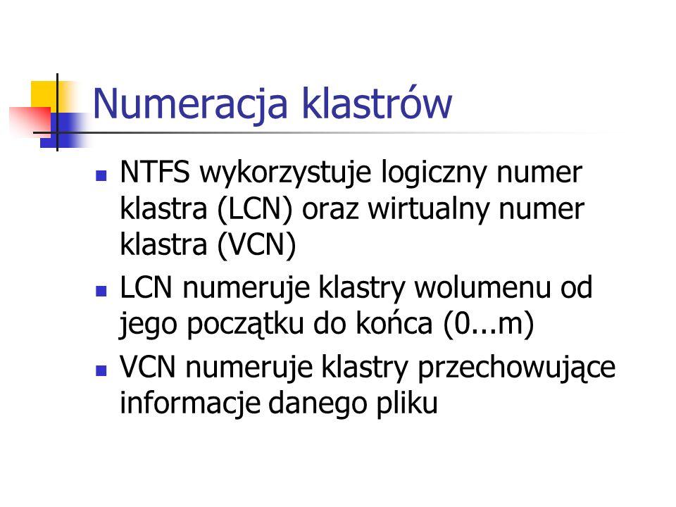 Numeracja klastrów NTFS wykorzystuje logiczny numer klastra (LCN) oraz wirtualny numer klastra (VCN)