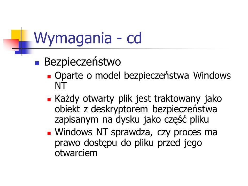 Wymagania - cd Bezpieczeństwo Oparte o model bezpieczeństwa Windows NT