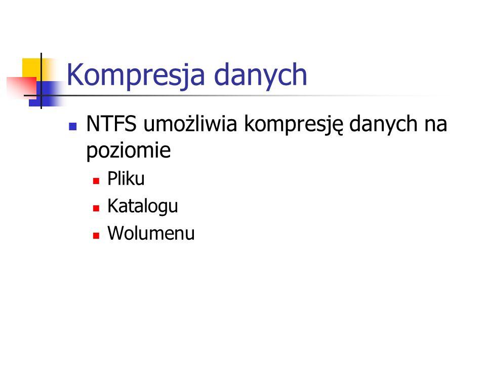 Kompresja danych NTFS umożliwia kompresję danych na poziomie Pliku