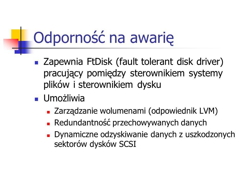 Odporność na awarię Zapewnia FtDisk (fault tolerant disk driver) pracujący pomiędzy sterownikiem systemy plików i sterownikiem dysku.