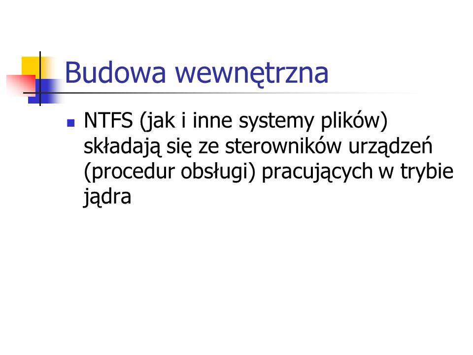 Budowa wewnętrzna NTFS (jak i inne systemy plików) składają się ze sterowników urządzeń (procedur obsługi) pracujących w trybie jądra.
