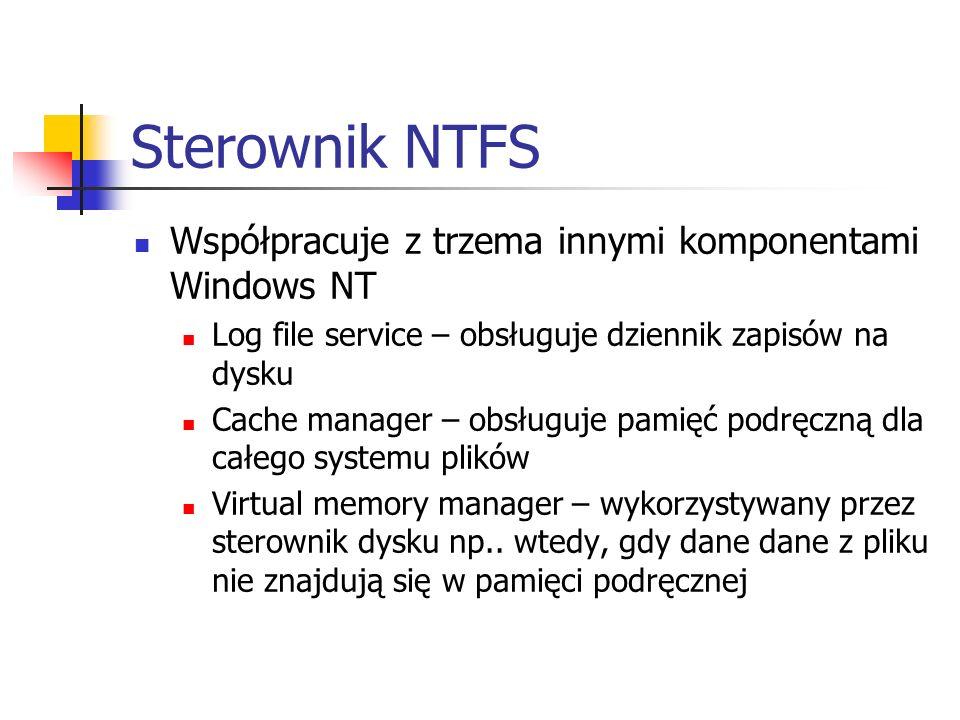 Sterownik NTFS Współpracuje z trzema innymi komponentami Windows NT