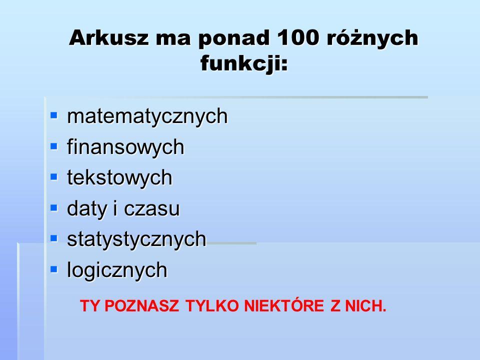 Arkusz ma ponad 100 różnych funkcji: