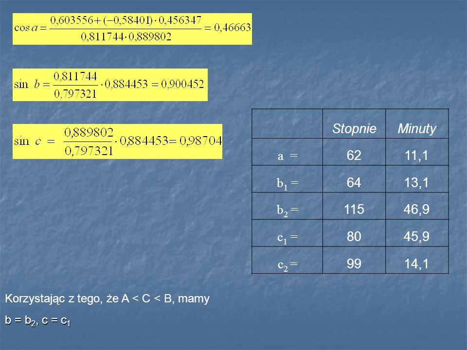 Stopnie Minuty a = 62 11,1 b1 = 64 13,1 b2 = 115 46,9 c1 = 80 45,9