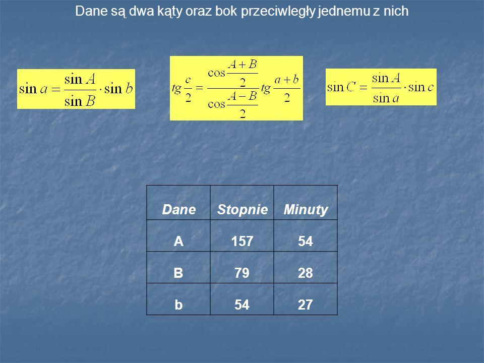 Dane są dwa kąty oraz bok przeciwległy jednemu z nich