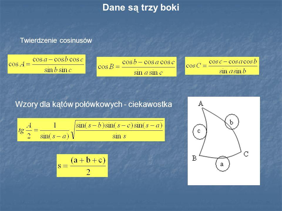 Dane są trzy boki Wzory dla kątów połówkowych - ciekawostka