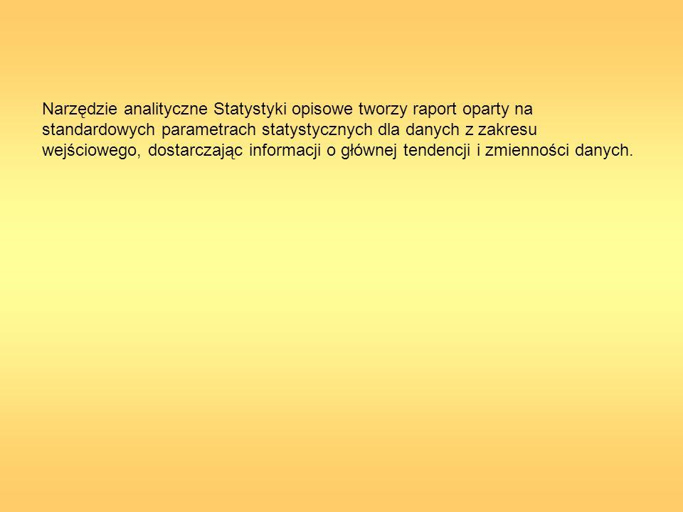 Narzędzie analityczne Statystyki opisowe tworzy raport oparty na standardowych parametrach statystycznych dla danych z zakresu wejściowego, dostarczając informacji o głównej tendencji i zmienności danych.